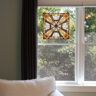 River of Goods Mission-style Pharaoh's Jeweled Stained Glass 17.5-inch High Window Panel