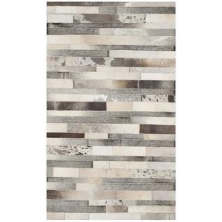 Safavieh Handmade Studio Leather 200 Modern Grey / Ivory Leather Rug (3' x 5')