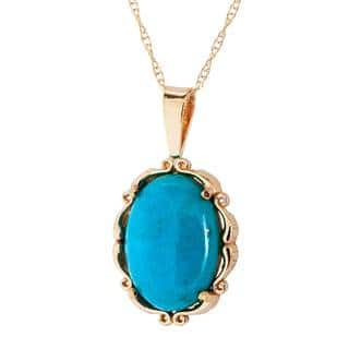 Turquoise 14k jewelry for less overstock 14k yellow gold turquoise pendant necklace blue aloadofball Choice Image