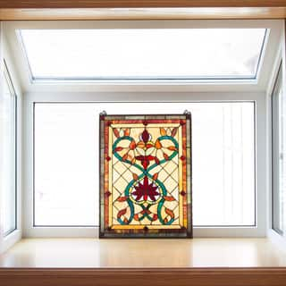 """Tiffany Style Firey Hearts and Flowers Stained Glass 24-inch Window Panel - 18""""L x 0.25""""W x 24""""H"""