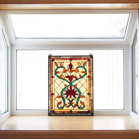"Tiffany Style Firey Hearts and Flowers Stained Glass 24-inch Window Panel - 18""L x 0.25""W x 24""H"