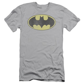 DC/Retro Bat Logo Distressed Short Sleeve Adult T-Shirt 30/1 in Silver