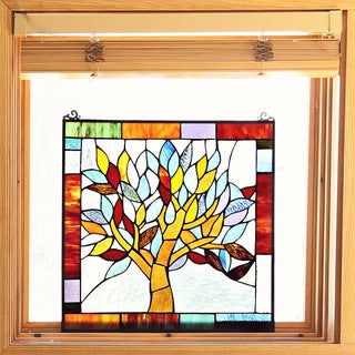 Tiffany Style Mystical World Tree Stained Glass 18-inch Window Panel