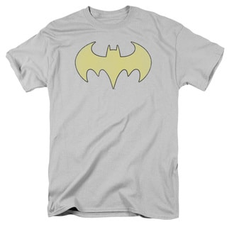 DC/Batgirl Logo Distressed Short Sleeve Adult T-Shirt 18/1 in Silver