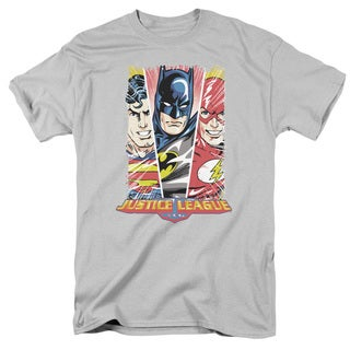 JLA/Hero Triptych Short Sleeve Adult T-Shirt 18/1 in Silver