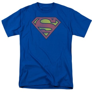 DC/Retro Supes Logo Distressed Short Sleeve Adult T-Shirt 18/1 in Royal