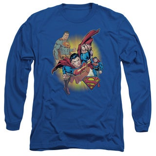 JLA/Superman Collage Long Sleeve Adult T-Shirt 18/1 in Royal