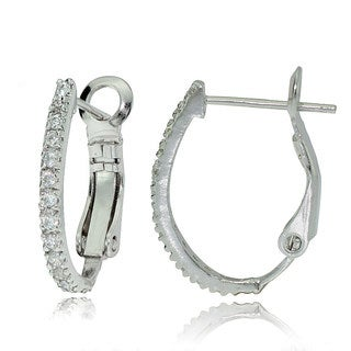 Sterling Silver Cubic Zirconia Oval 21mm Hoop Earrings