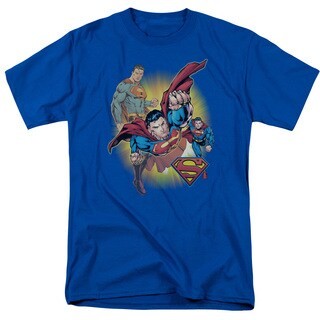 JLA/Superman Collage Short Sleeve Adult T-Shirt 18/1 in Royal