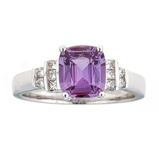 Anika and August 18k White Gold Pink Sapphire and Diamond Ring (G-H, I1-I2)