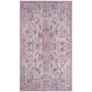Safavieh Valencia Pink/ Multi Overdyed Distressed Silky Polyester Rug (3' x 5')