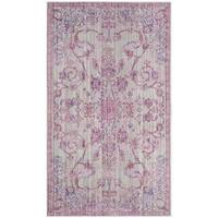 Safavieh Valencia Pink/ Multi Overdyed Distressed Silky Polyester Rug - 3' x 5'