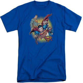 JLA/Superman Collage Short Sleeve Adult T-Shirt Tall in Royal