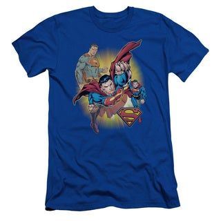 JLA/Superman Collage Short Sleeve Adult T-Shirt 30/1 in Royal