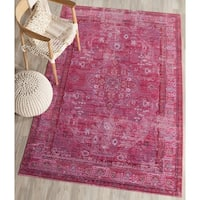 Safavieh Valencia Red/ Multi Overdyed Distressed Silky Polyester Rug - 3' x 5'