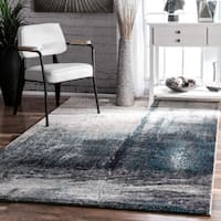 Oliver & James Knight Grey Abstract Painting Area Rug - 4'1 x 6'