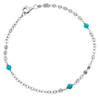 Sterling Silver Sleeping Beauty Turquoise Ankle Bracelet