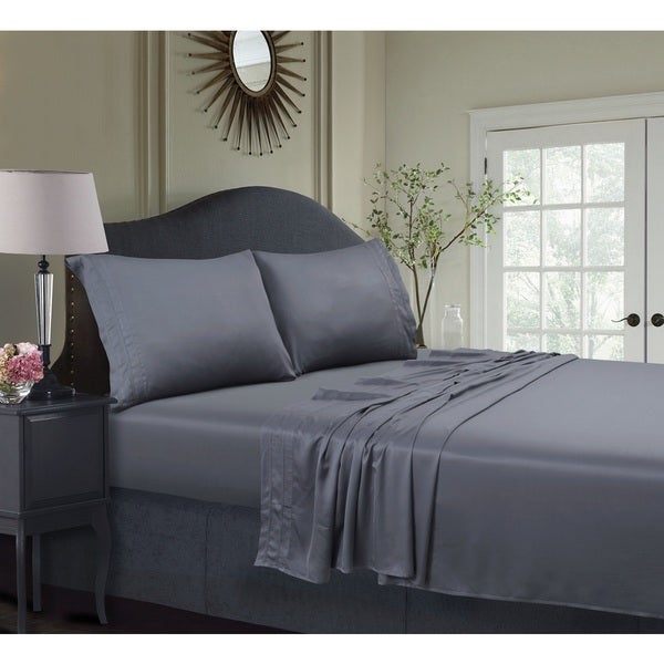 Attractive Rayon From Bamboo 300 Thread Count Sateen Extra Deep Pocket Sheet Set With  Oversize Flat