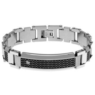 Men's White/Black Stainless Steel Diamond Link Bracelet