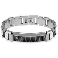 Men's White/Black Stainless Steel Diamond Link Bracelet