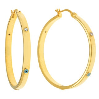 Yellow Brass Cubic Zirconia Women's Evil Eye Hoop Earrings