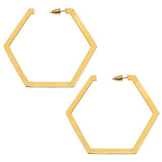 Ladies Hexagon Yellow Brass Hoop Earrings