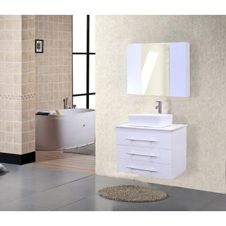 Portland White Wood/Marble 30-inch Single Sink Wall Mount Vanity Set