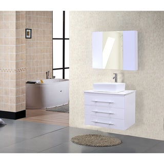 Portland White Wood/Marble 30-inch Single Sink Wall Mount Vanity Set