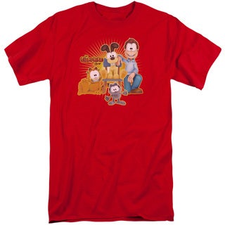 Garfield/Say Cheese Short Sleeve Adult T-Shirt Tall in Red