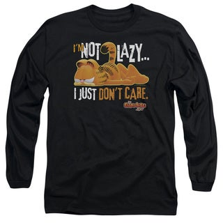 Garfield/Not Lazy Long Sleeve Adult T-Shirt 18/1 in Black
