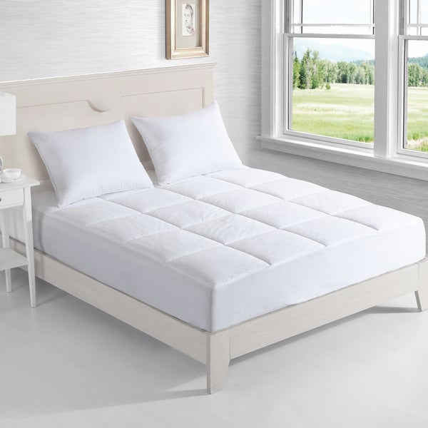 Nanofibre 400 Thread Count Down Alternative Water and Stain Resistant Mattress Pad - White
