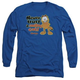 Garfield/Smiling Long Sleeve Adult T-Shirt 18/1 in Royal