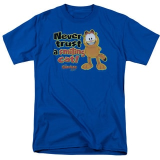 Garfield/Smiling Short Sleeve Adult T-Shirt 18/1 in Royal