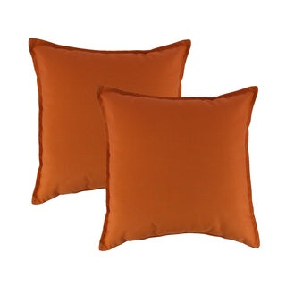 Austin Horn Classics Sunbrella Canvas Tangerine 20-inch Outdoor Throw Pillow (set of 2)