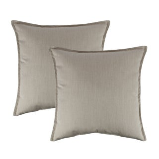 Austin Horn Classics Sunbrella Canvas Flax 20-inch Outdoor Throw Pillow (set of 2)