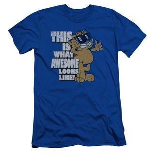 Garfield/Awesome Short Sleeve Adult T-Shirt 30/1 in Royal