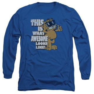 Garfield/Awesome Long Sleeve Adult T-Shirt 18/1 in Royal