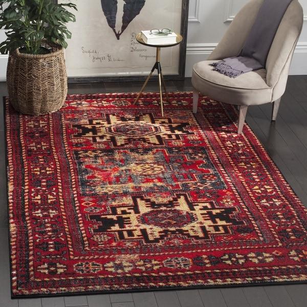 Safavieh Vintage Hamadan Traditional Red/ Multicolored Distressed Rug  (4u0026#x27; ...