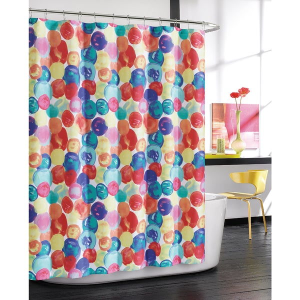 Drops by Artisitc Linen Easy To Hang Rainfall Collection Shower Curtain With 12 Roller Hooks