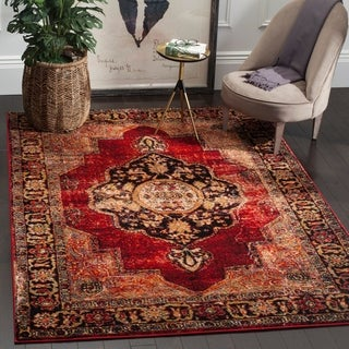 Safavieh Vintage Hamadan Medallion Red/ Multi Distressed Rug (3' x 5')