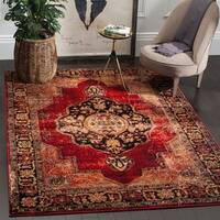 Safavieh Vintage Hamadan Medallion Red/ Multi Distressed Rug - 4' x 6'