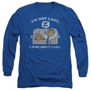 Garfield/Not Lazy Long Sleeve Adult T-Shirt 18/1 in Royal