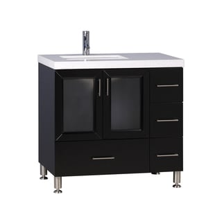 Westfield White Quartz Top and Espresso Wood 36-inch Single Sink Vanity