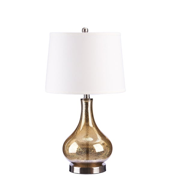 gold mercury glass and beige linen drum shade 24 inch gourd table lamp. Black Bedroom Furniture Sets. Home Design Ideas