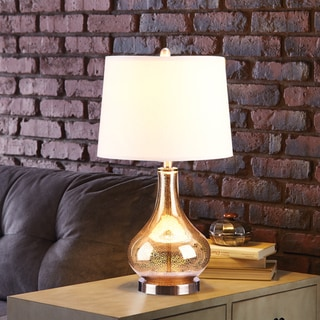 Catalina 3-Way Gold Mercury Glass and Beige Linen Drum Shade 24-Inch Gourd Table Lamp