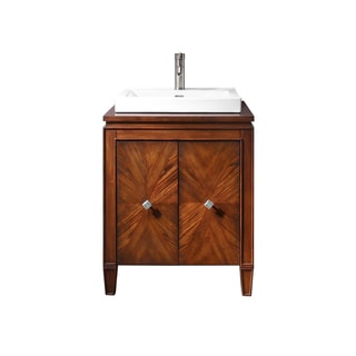 Avanity Brentwood Walnut Finish Wood 25-inch Vanity With Semi-recessed Sink