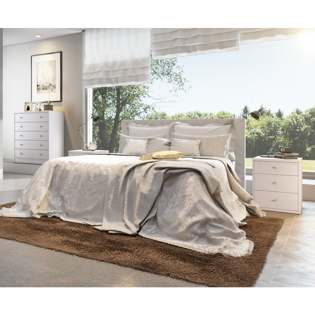 Manhattan Comfort Astor 2.0 White Wood Bedroom Dresser an...