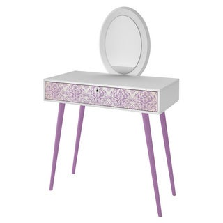 Accentuations by Manhattan Comfort Mora White and Lavender Vanity and Mirror Set