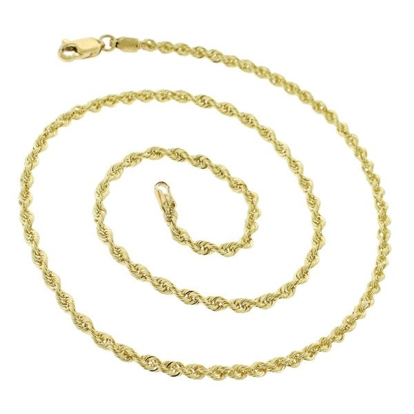"""Brand New 10k Yellow Gold 28/"""" Rope Chain Necklace 2mm Hiphop Jewelry"""