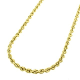 10k Yellow Gold 2.5 mm Hollow Rope Chain Necklace